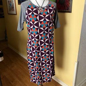 LuLaRoe Julie Geometric pattern bold color L